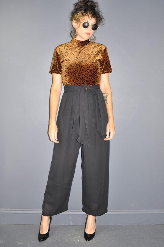 90s Animal Print Velvet Jumpsuit
