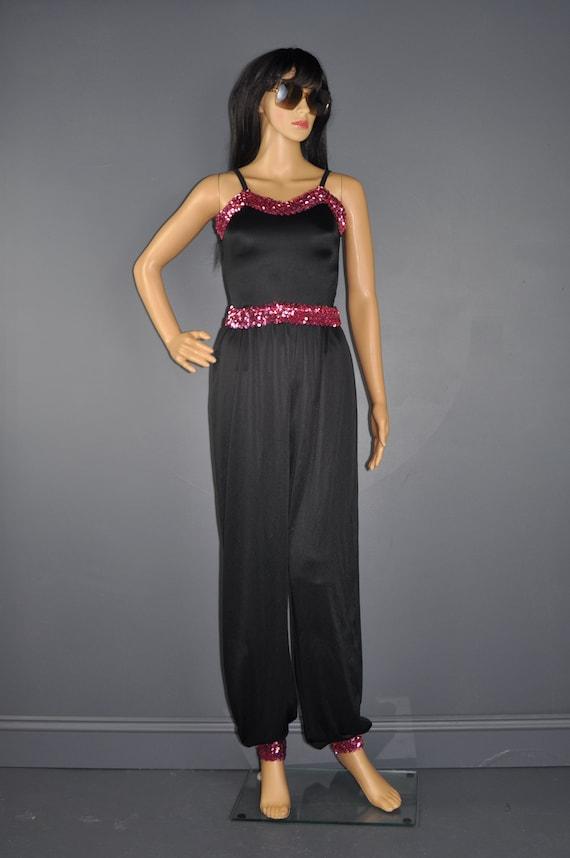 70s Sequin Jumpsuit Black Pink Sequin Harem Pant F