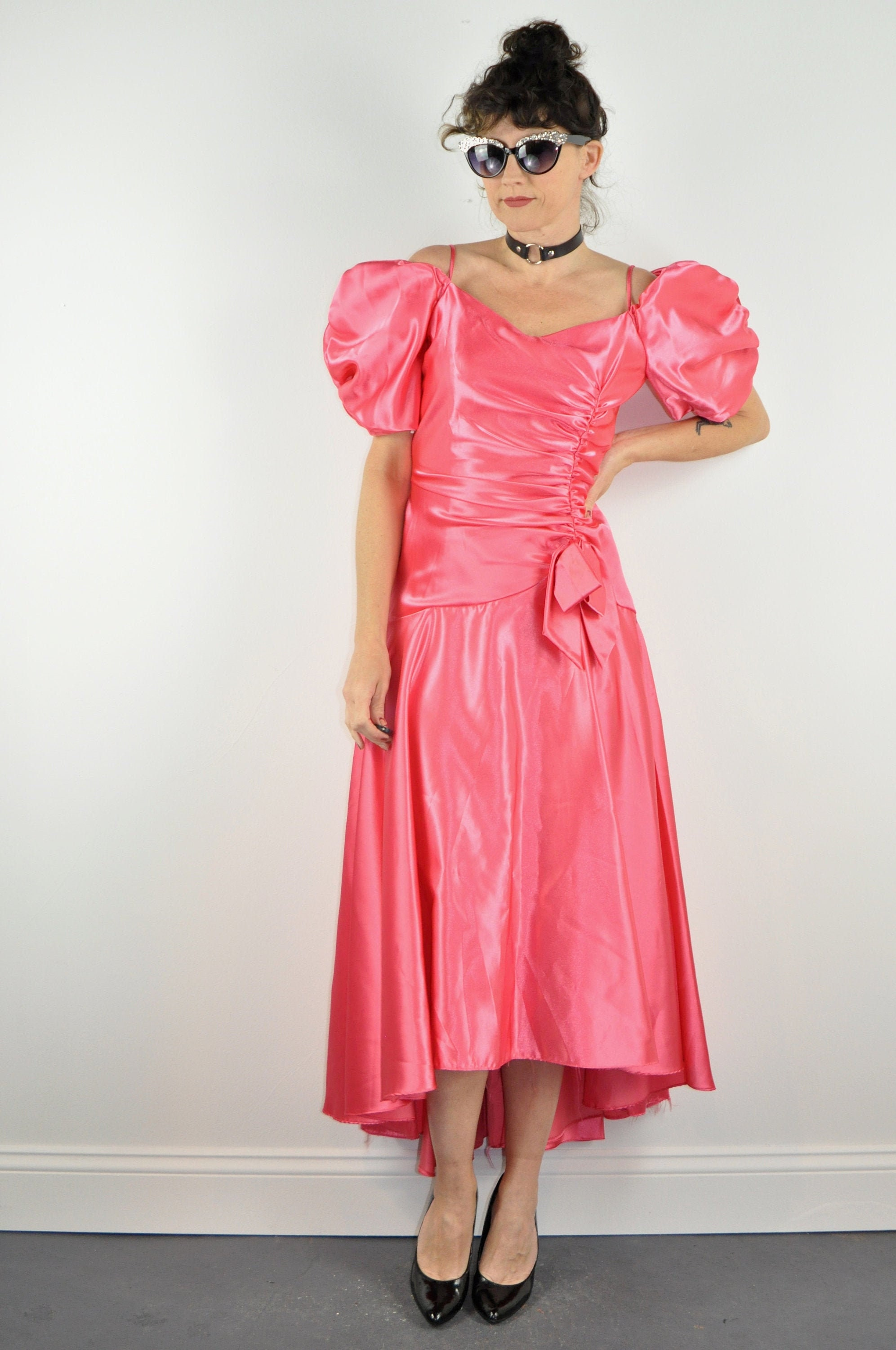 80s Dresses | Casual to Party Dresses 80S Pink Satin Prom Dress - Medium  Puff Sleeve Vintage Party Drop Waist 1980S $0.00 AT vintagedancer.com