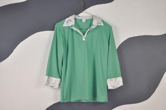 70s Mint Green Blouse M - image 1