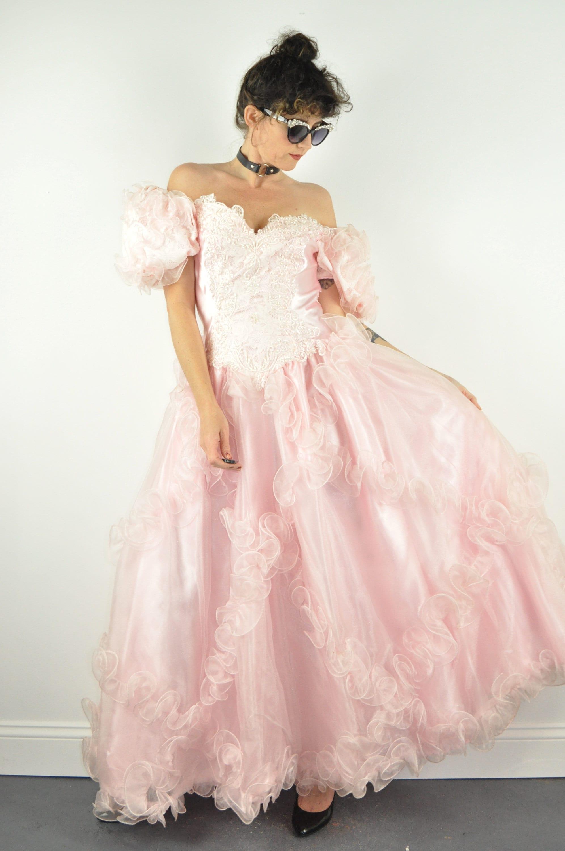 80s Dresses | Casual to Party Dresses 80S Puff Sleeve Beaded Princess Dress - Medium  Pink Prom Vintage Cinderella Quinceañera 1980S $0.00 AT vintagedancer.com