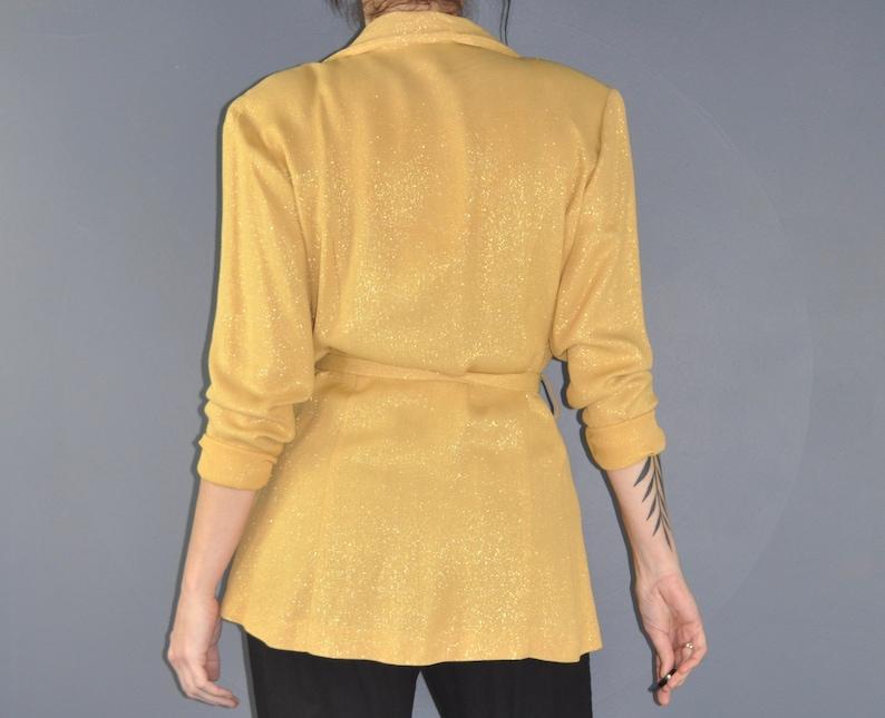 80s Gold Sparkle Cardigan Blazer Jacket Gold Wrap Jacket Party Blazer Large