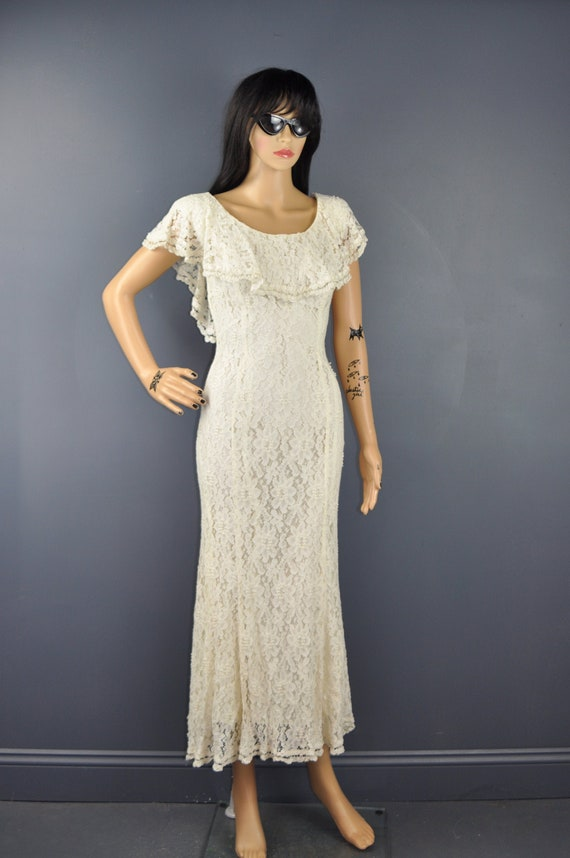 80s Beaded Lace Maxi Dress XS