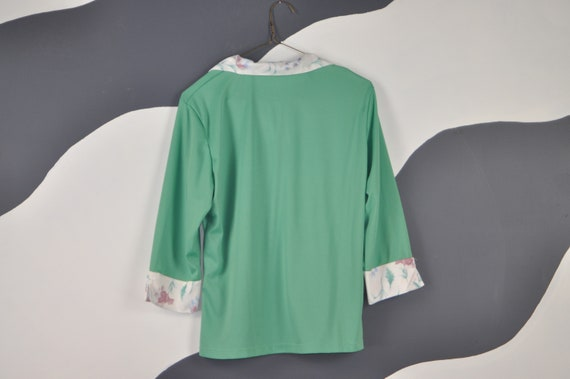 70s Mint Green Blouse M - image 2