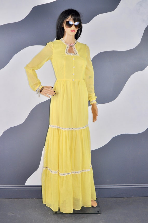 70s Yellow Prairie Dress S