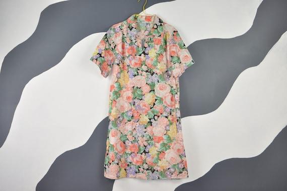 80s Floral House Dress M