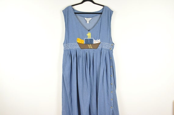 90s Noahs Ark Pinafore Dress - Large | Vintage Bl… - image 1