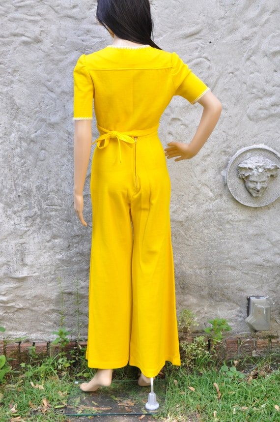 60s 70s Yellow Pant Suit XS - image 7