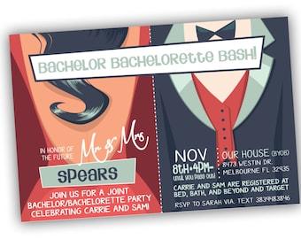 Bachelor Bachelorette Party Invitation Customizable Colors Etsy