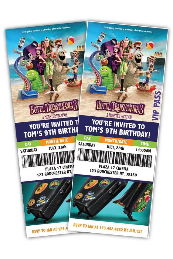 Hotel Transylvania 3 Movie Ticket Themed Birthday Party