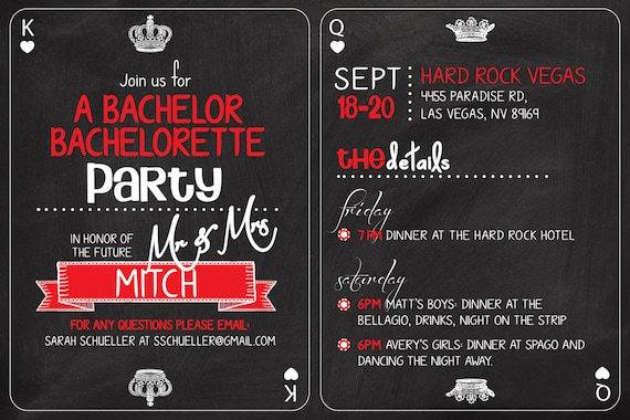 Vegas Casino Themed Bachelor Bachelorette Party Invitation