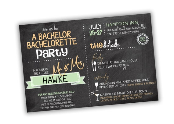 Bachelor Bachelorette Party Invitation Customizable Colors