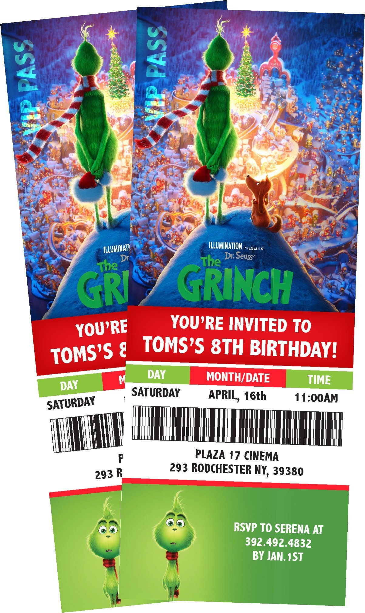 Grinch Movie Ticket Themed Birthday Party Invitation. School | Etsy