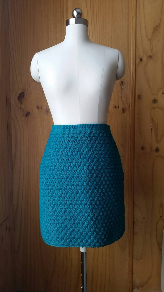 Hand Crocheted Teal Skirt Small