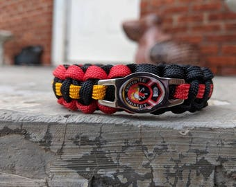 USMC Marine Corps Thin Red Line Firefighter Paracord Bracelet - FREE SHIPPING