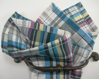 Cotton pocket square teal,yellow, taupe, grey,white, and black