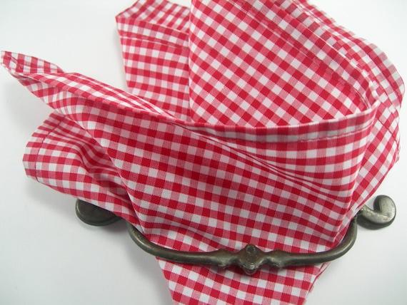 Ginham poche carré rouge et blanc