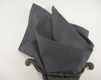 cotton pocket square dark gray