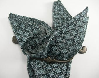 Cotton pocket square blue gray, white and black