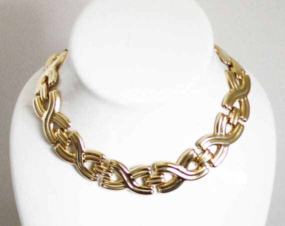 1980s gold twist chain necklace // 1980s chain // vintage jewlery