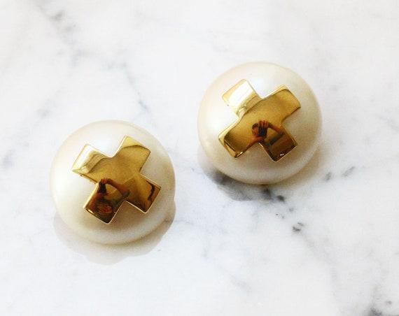 1980s gold cross earrings // 1980s earrings // vintage earrings
