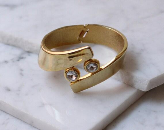 1980s gold rhinestone bangle // cuff bracelet // vintage jewlery