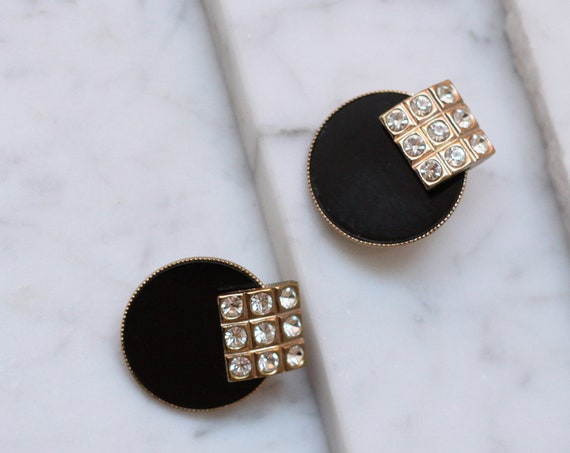 1980s black and rhinestone earrings // 1960s circle earrings // vintage earrings