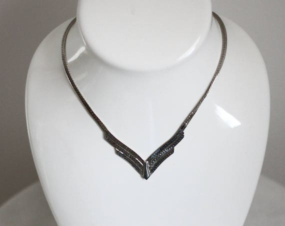 1980s silver angle necklace // 1980s silver chain // vintage jewlery