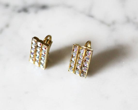 1950s gold rhinestone earrings // 1960s rhinestone earrings // vintage earrings