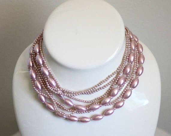 1960s pink bead necklace // 1960s multistrand necklace // vintage necklace