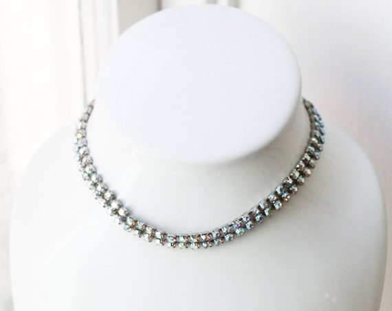1960s rhinestone choker necklace // vintage rhinestone necklace // vintage jewlery