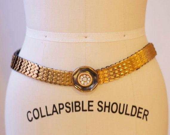 1980s gold scale elastic belt // 1980s gold belt // vintage belt