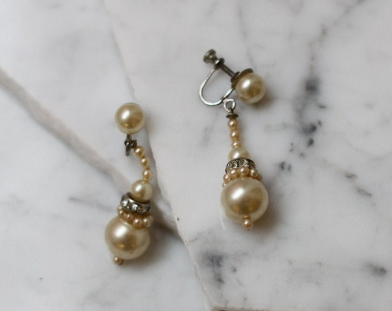1950s gold & pearl earrings // 1950s bridal earrings // vintage earrings