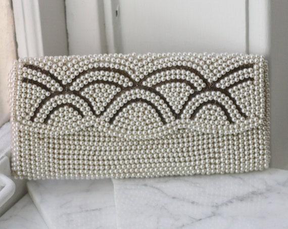 1960s pearl beaded clutch // 1960s wedding clutch // vintage purse