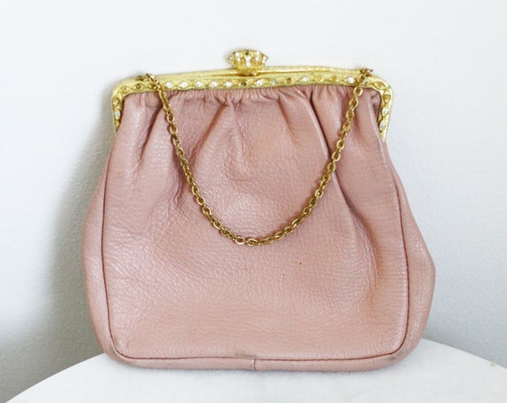 1960s leather small purse  // 1960s pink leather purse // vintage purse