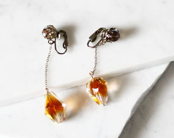 1960s drop earrings // 1960s czech glass earrings // vintage earrings