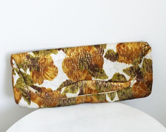 1960s gold floral clutch // 1960s autumnal clutch // vintage purse