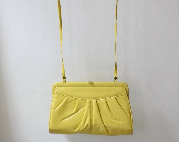1970s yellow pleather purse // 1970s yellow cross body purse // vintage purse