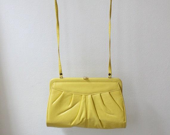 1970s yellow pleather purse // 1970s yellow cross body purse // vintage purse