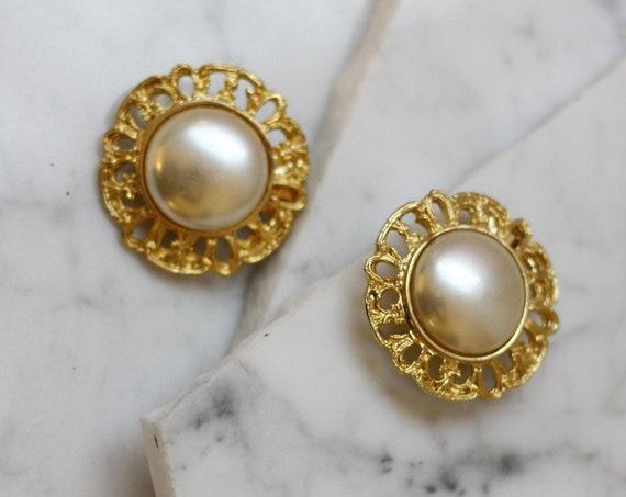 1980s gold pearl shoe clips // 1980s gold shoe clips // vintage shoe clips