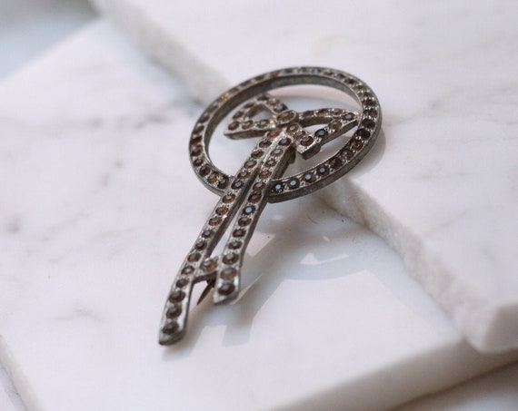 1920s silver long bow brooch // antique silver brooch // vintage brooch