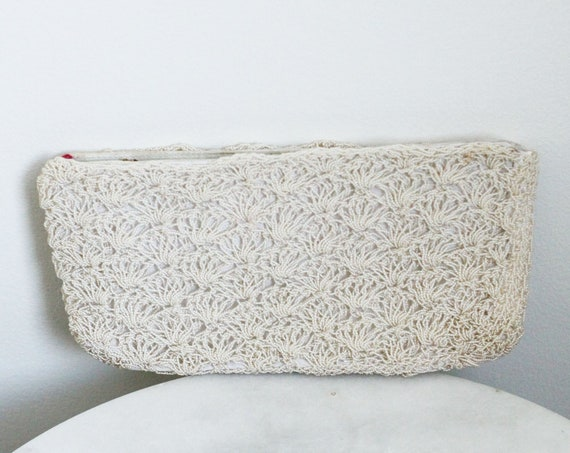 1970s spiral rope clutch // bridal clutch // vintage purse