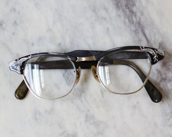 1960s black cat eye glasses // 1950s glasses  // vintage glasses