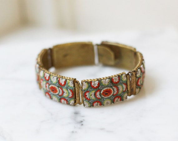 1930s mosaic bangle // 1930s brass mosaic bracelet // vintage jewellery
