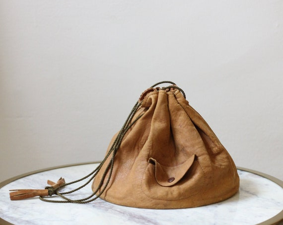 1940s brown deerskin purse // 1930s deerskin bucket purse // vintage purse