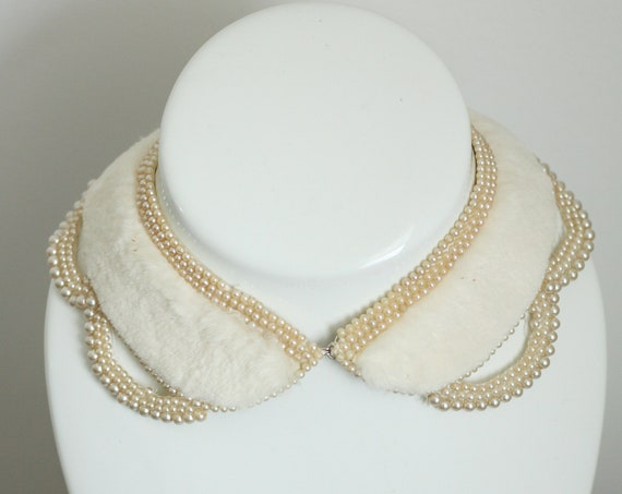 1950s white fur collar // 1950s beaded collar // antique collar
