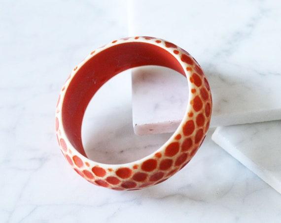 1970s orange dot bangle // cuff bracelet // vintage jewlery