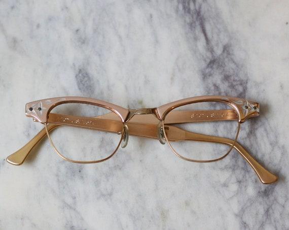 1960s rose gold glasses // 1960s metal rim glasses  // vintage glasses