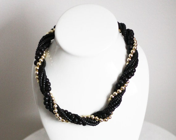 1980s black beaded necklace // 1980s multi strand necklace // vintage jewlery