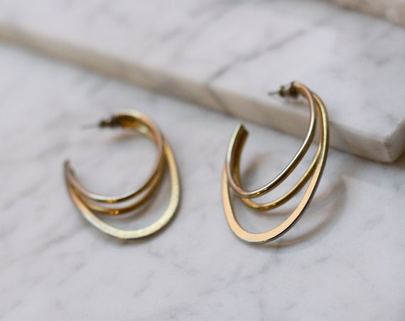 1980s gold triple half hoop earrings // 1980s earrings // vintage earrings